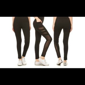 3 Pack Women's Sheer Mesh Leggings -Lrg